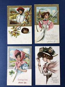 Pretty Ladies 4 Greetings Antique Postcards,1900s.Same Publ. Gold / Silver trim