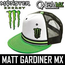 MONSTER ENERGY ONEAL TRUCKER CAP hat DIETRICH motocross White Green snap back