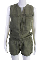 Joie Womens Sleeveless Y Neck Solid Print Romper Army Green Linen Size XS