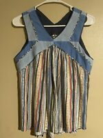 Women's Anthropologie One September Meseta Tank Top Blue Striped Shirt Size M