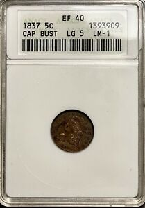 1837 Capped Bust Half Dime H10C ANACS XF 40 Large 5, LM-1 Toned
