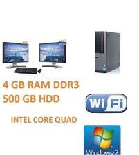 "Dell PC Core Quad 500GB HDD 4GB DDR3 WiFi Windows 7 Pro Dual Screen TFT 2 x 17"""