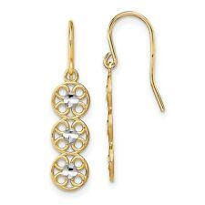 Fancy Dangle Wire Earrings In Real 14k Yellow Two Tone Gold 1.32gr