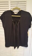 NWT Michael Kors Black Short Sleeve Bling Keyhole Holiday Top sz 12 $109
