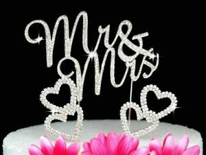 Mr & Mrs Crystal Cake Toppers and 2 Hearts Cake Picks Wedding Cake Toppers