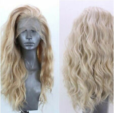 Women Synthetic Hair Natural Wavy Lace Front Wig Golden Blonde Curly Heat Safe