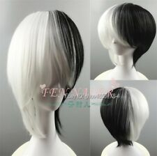 Fashion Black White Short Straight Unisex Cosplay Wig Synthetic Party Hair Wigs