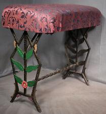 Antique Art Deco Cast Iron Vanity Stool Egyptian Revival Paint garden Table OLD