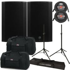 Mackie Thump TH-15A BST 1300W Powered Speaker Pair with Gator Bags Cables Stands