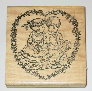 Young Love Rubber Stamp Boy Girl I Love You Heart Flowers Hampton Art Stamps