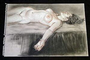Mixed Media Drawing Painting Hawaii Reclining Nude Tianni by Snowden Hodges (Sho