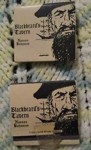 2 BLACKBEARD'S TAVERN Nassau BAHAMAS Matchbooks 1950s-1960s? Pirates Caribbean