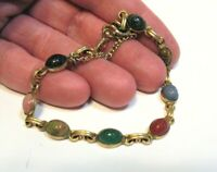 12K GOLD FILLED SCARAB BRACELET 8 STONES 7 1/4 INCHES  7 GRAMS