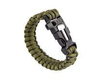 Vert survival Military Bracelet avec feu pierre pipe grattoir paracord
