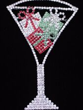 "WEDDING CHRISTMAS CELEBRATION COCKTAIL WINE CHAMPAGNE GLASS BROOCH JEWELRY 4""LRG"