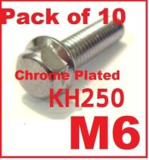 M6 Chrome plated hex bolts (Pack of 10) - Kawasaki KH250
