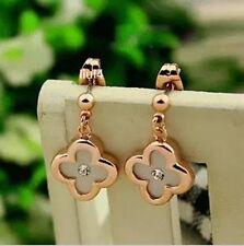 18K GP Rose Gold  Crystal White Lucky clover Earrings E268