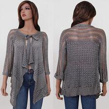 Women Beige Brown Black Long Sleeve Drape Knit Metallic Cardigan Sweater S M L