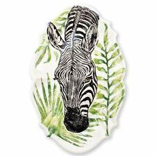 Vietri Into the Jungle Zebra Scallop Large Oval Platter - Set of 2