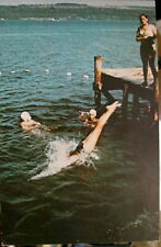 c1960s Girls swimming at Girl Scout Camp Comstock Cayuga Lake NY postcard view