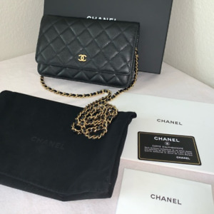 Chanel wallet on chain WOC Caviar Wallet Black Shoulder Bag