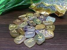 Multi Fluorite Runes Set for reiki healing with stylish pouch rune set ~ RUNES14