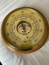 Vintage Russian Barometer Brass Set In Wood