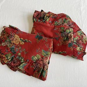 RALPH LAUREN Standard Pillow Sham Ruffle AYLESBURY RED FLORAL Barkcloth Cottage