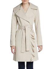 T Tahari Trench coat XL Khaki Beige Tan Ruffle Classic Spring Professional
