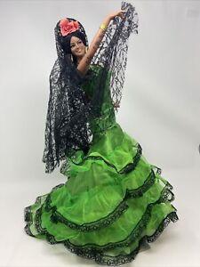 "Vintage Marin Chiclana 18"" Spanish Dancer With Beautiful Green Dress"