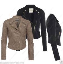 Manteaux et vestes motards noirs en faux cuir pour femme