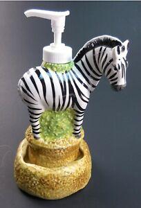"Cute Zebra Soap & Lotion Dispenser Whinnies When Pumped Child Bathroom 7.5"" Tall"