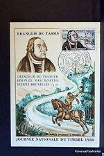FRANCOIS DE TASSIS 1956 FRANCE Carte maximum premier jour 1° timbre Yt1054