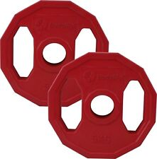 """Standard Polygonal Weight Plate Discs 2 x 5kg │ 1"""" Hole Colour Coded by BodyRip"""