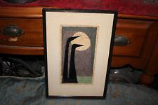 Vintage Art Lithograph-Moonbirds-Signed E. Lanston-Framed-Black Birds Moon Sky