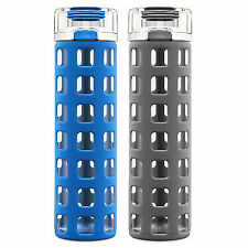 LTB: ELLO GLASS WATER BOTTLE W/ SILICONE GRIP PROTECTOR 20oz - Blue
