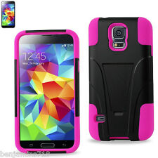 REIKO SAMSUNG GALAXY S5 HYBRID HEAVY DUTY CASE WITH KICKSTAND IN HOT PINK BLACK