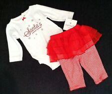 "NEW Carters Baby Girl ""Santa's Sweetheart"" Bodysuit & Leggings+Tutu Set--3 Month"
