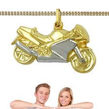 Männer Frauen Motorrad Maschine Anhänger Echt Gold 333 bicolor mit Silber 925 VG