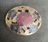 Large Vintage Fish & Crown Gold Tone Enamel Lily Pin Brooch