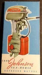 """VINTAGE 1949 JOHNSON  OUTBOARD MOTOR SALES BROCHURE OPENS TO 12"""" X 12""""  (226)"""