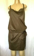 Nano Universe Dress Spaghetti Strap Drawstring Mini Metallic Sheen Brown Draped