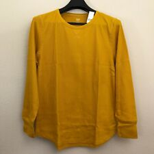 GAP Women XXL T Shirt Thermal Long Sleeve Crewneck Yellow Cotton Blend Stretch