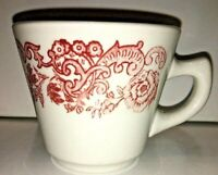 Mug Cup Restaurant Ware Walker China Herald Red Scroll Floral Bedford Ohio '52