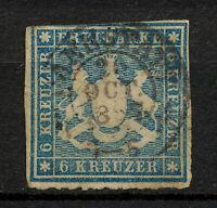 (YYAO 662) Wurttemberg 1865 Cannstatt USED Mich 32b Scott 43 Germany