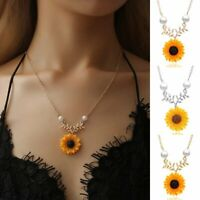 Charm Sunflower Pearls Women Pendant Necklace Imitation Sweater Chain Jewelry