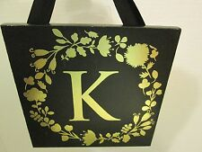 "Initial ""K"" Black and Gold Wood Plaque, NEW"