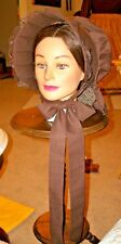Civil War Dress Victorian Accessories Ladys Brown Slat~Sun Bonnet With Wood Slat