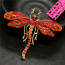 Insect Betsey Johnson Brooch Pin Gift Women Pretty Red Crystal Enamel Dragonfly