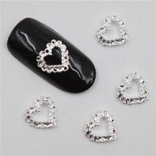 NEW 3D Silver Metallic Heart Nail Art Crystal Gems FREE P&P UK STOCK